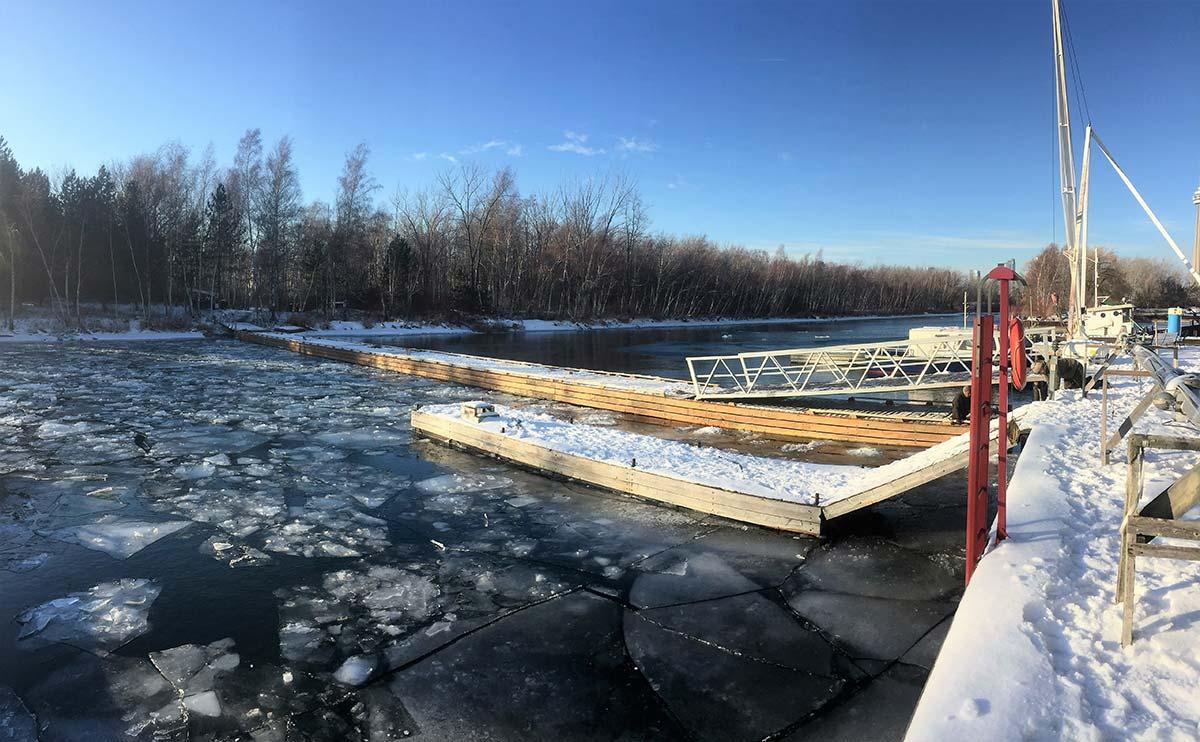 Floating bridge 182' long